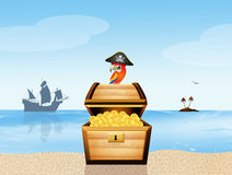 Treasure chest and parrot on the island Stock Photos