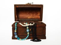 Treasure chest with pearls. Royalty Free Stock Photos