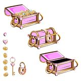 Treasure chest with pink jewelry Stock Image