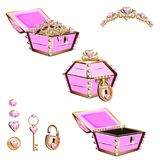 Treasure chest with pink jewelry and tiara Stock Images