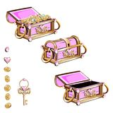 Treasure chest with pink jewelry Royalty Free Stock Image