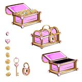 Treasure chest with pink jewelry Royalty Free Stock Photo