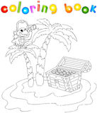 Treasure chest, pirate parrot and palms on the island. Coloring Royalty Free Stock Images