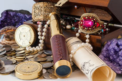 Treasure chest. Pirate treasure chest with pearls, jewels, coins and glass stock photos
