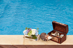 Treasure chest pool flowers snail Stock Photos