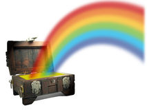 Treasure chest with rainbow Stock Photo