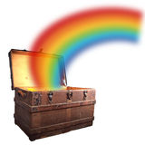 Treasure chest with rainbow Royalty Free Stock Image