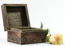 Treasure chest with rose Stock Image