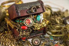 Treasure Chest. It's many jewelry in treasure chest Royalty Free Stock Photography