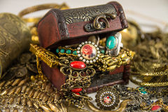 Treasure Chest. It's many jewelry in treasure chest Stock Image