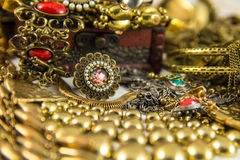 Treasure Chest. It's many jewelry in treasure chest Royalty Free Stock Photos
