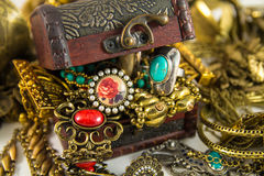 Treasure Chest. It's many jewelry in treasure chest Royalty Free Stock Images