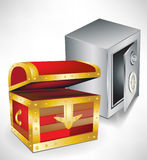 Treasure chest and safe. Open treasure chest and safe Stock Photo