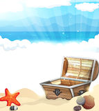 Treasure Chest on the sand Stock Photography