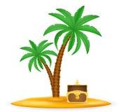 Treasure chest on sand under palm tree stock vector illustration. Stock vector illustration isolated on white background stock illustration
