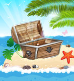 Treasure Chest on sandy island Royalty Free Stock Photography