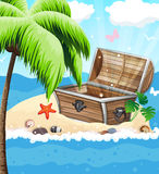 Treasure Chest on sandy island Royalty Free Stock Image