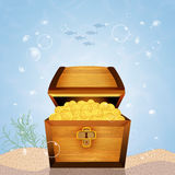 Treasure chest on seabed. Illustration of treasure chest on seabed Royalty Free Stock Images