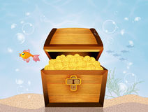 Treasure chest on seabed. Illustration of treasure chest on seabed Stock Photography