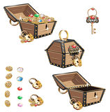 Treasure Chest set. Gold pirate. Isolated on white background Royalty Free Stock Photo