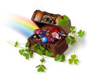 Treasure chest, shamrock branches and rainbow Stock Photography