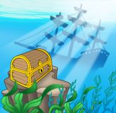 Treasure chest with shipwreck. Color illustration Royalty Free Stock Photos