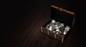 Treasure chest with silver coins Stock Photos