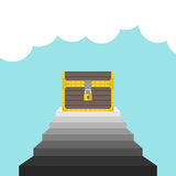 Treasure chest on staircase Royalty Free Stock Image