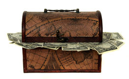 Treasure Chest Stuffed With Money Royalty Free Stock Photo
