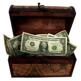 Treasure Chest Stuffed With Money Stock Photos
