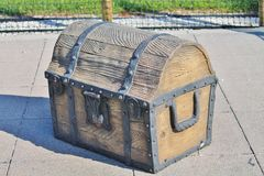 Treasure Chest. Toy treasure chest on a playground with a pirate theme Stock Photo