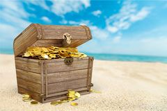 Treasure chest. Wealth gold coin crown open padlock stock photo