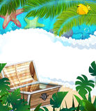 Treasure Chest on the tropical coast Stock Images