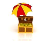 Treasure chest and umbrella. 3d render of treasure chest under the umbrella vector illustration