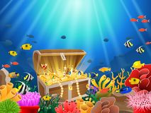 Treasure chest in underwater Stock Photography