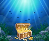 Treasure chest in underwater Royalty Free Stock Photography