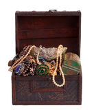 Treasure chest with valuables Stock Photo