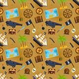 Treasure chest vector seamless pattern illustration. Royalty Free Stock Photo