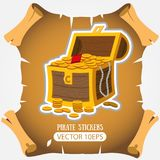 Treasure chest. Vector stickers on the pirate theme.  stock illustration