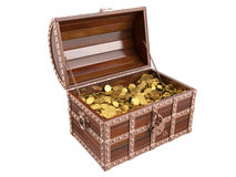 Treasure chest. On white background. 3D image royalty free stock photo
