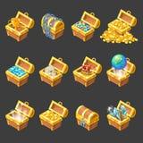 Treasure Chests Isometric Cartoon Set Stock Photo