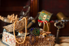 Treasure chests with jewellery Royalty Free Stock Photo