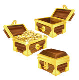 Treasure chests, open, closed and filled with coins isolated Royalty Free Stock Photography
