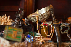 Treasure chests. Shallow DOF. Closeup of Treasure chests with jewellery. Shallow DOF Stock Photo