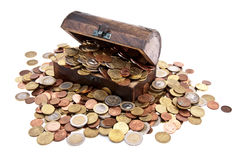 Treasure with Euro-Coins (total view) Royalty Free Stock Image