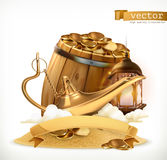 Treasure. Genie lamp and barrel with coins. 3d vector icon. Treasure. Genie lamp and wooden barrel with gold coins. 3d vector icon royalty free illustration