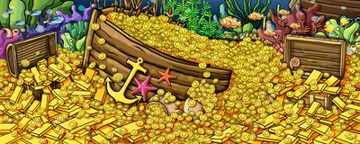 Treasure gold and  animals underwater Paint. And Coin vector illustration