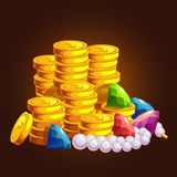 The treasure of gold coins vector illustration
