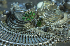Treasure, heap of Beautiful Oriental Silver Bridal jewelry Indi Stock Photography