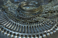 Treasure, heap of Beautiful Oriental Silver Bridal jewelry Indi Royalty Free Stock Image